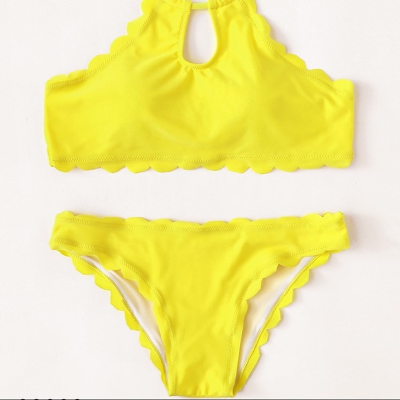 add154f207 SHEIN Swim   Yellow Scalloped Bathing Suit   Poshmark